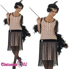 Ladies 1920s 20s Flapper Costume Ganster Charleston Gatsby Outfit Fancy Dress Up