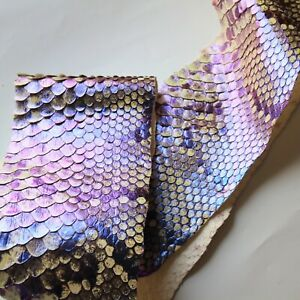 Pearlized Asia Aged Python Snake Skin Hide Leather Snakeskin Belly Piece