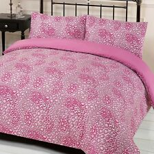 Leopard Print Quilt Cover with Pillowcase Duvet Bedding Set - Jengo Black Pink
