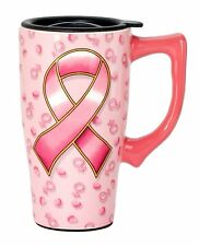 PINK RIBBON Breast Cancer Cure 14 oz. Ceramic Travel Mug w/ Lid, by Spoontiques