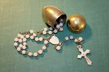 More details for vintage miniature / tiny / small rosary beads in bullet shaped container