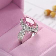 Women's Fashion Silver Horse Eye Pink Zircon Ring Wedding Jewelry Ring Size 11