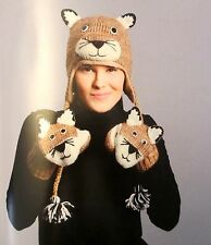 deLux ~ COUGAR HAT MITTENS SET knit ADULT Mountain lion LINED animal mens womens