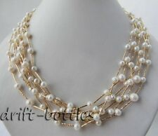 6Strands White Round Freshwater Pearl Necklace