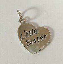 Little Sister Charm Corazón Colgante .925 Plata de Ley USA MADE Regalo