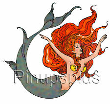 Redhead Mermaid Pinup Girl Waterslide Decal Sticker Most smooth surfaces S860