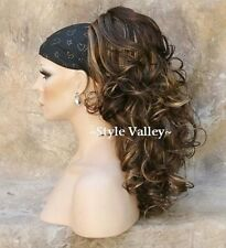Brown Mix w Blonde Ponytail Hairpiece Extension Long Curly Clip on in Hair Piece