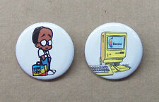 "Bloom County Oliver Wendell Jones & Banana Jr 6000 Button Set 1.25"" Hacker Kid"