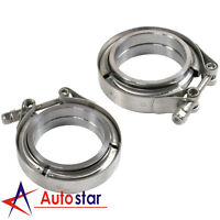 """2pcs 2.5"""" Stainless Steel V-Band Flange & Clamp Kit For Turbo Exhaust Downpipes"""