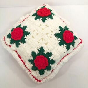 "Granny 3D Crochet Red Roses Pillow Christmas Decorative Throw Pillow 14"" Square"