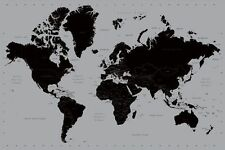 (LAMINATED) CONTEMPORARY WORLD MAP POSTER (61x91cm) SILVER & BLACK EDUCATIONAL