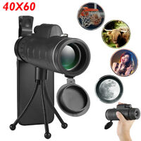 40X60 BAK4 Monocular Telescope Outdoor Hiking Hunting Scope w/ Phone Clip Tripod