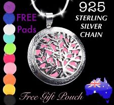 Tree of Life Essential Oil Diffuser Locket 925 Sterling Silver Chain Necklace