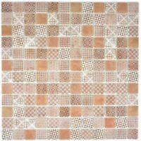 Retro Vintage Mosaik Fliese ECO Recycling GLAS ECO braun Dusche Wand 145-P-70_b