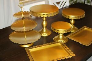 Proshopping 6 Set Antique Metal Cake Stand w/ Crystals Pendants and Beads, Gold