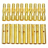 10Pair 4.0mm 4mm RC Battery Electronic Gold-plated Bullet Banana Plug Connectors