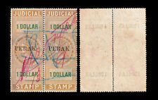 """Straits Settlements QV brown Judicial """"PERAK"""" ovpt $1 pair, used. Scarce in pair"""