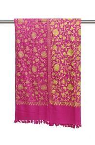 Traditional Pashmina Kashmiri Jal Embrioderd Pink Hand Spun And Woolen Shawl