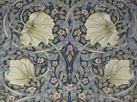 WILLIAM MORRIS CURTAIN FABRIC Pimpernel 0.65 METRE INDIGO AND HEMP 100% LINEN