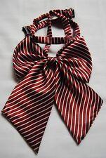 Ladies girls women adjustable pretied bow silk satin bow tie cravat stripes T17
