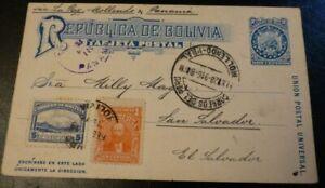 Bolivia uprated 2c Postal Stationery Card to El Salvador 1916