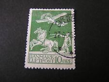 *DENMARK, SCOTT # C1, 10o. VALUE YELLOW GREEN 1925-29 AIR POST ISSUE USED