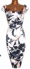 Superbe Coast Alva Floral Duchesse Stretch Satin Wiggle Pencil Dress UK 8 US 4