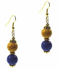 Dangle Drop Fashion Earrings Blue Lapis & Yellow Agate Vintage Style Gold Tone