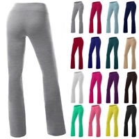 Womens Yoga Pants High Waist Foldover Athletic Stretch Casual Wide Leg Leggings