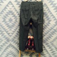 Men's Retro Herringbone Trousers British Woolen Striped Straight Pants Mix Warm