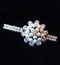 USA BARRETTE use Swarovski Crystal Hair Clip Hairpin Lady White Flower Pearl 01