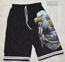 Native American Eagle Black Board Shorts -Free Size -NEW