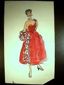 Lady Elitist 1946-59 Original Watercolor Sketch By C Schattauer Kelm