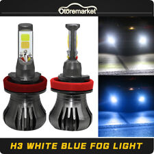 160W H3 8000K Blue+6000K White Dual Color LED Fog Light Driving Lamp Bulb DRL