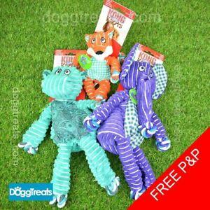 KONG Floppy Knots Dog Toy - Rope Squeaker - Wild Bear Hippo Elephant Fox Bunny