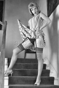 Semi Nude B/W Photo- Hairdo- Lift Dress- Panties- Stockings- Garter- Legs- Heels