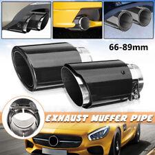 66mm-89mm Carbon Fiber Universal Car Rear Exhaust Tips Muffler Pipe Tail