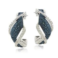 Blue and White 1/4 Carat Genuine Diamond Twist Earrings