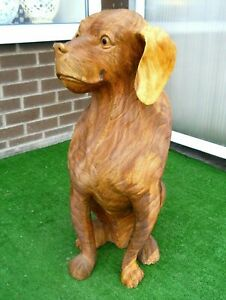 GREAT Wooden Large Figure DOG 80 cm Home Decoration Brown Colour Weight 15 kg