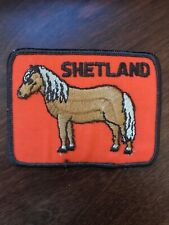 """Vtg Shetland Pony Horse Sew On Patch 4"""" Embroidered Badge Equestrian Riding"""