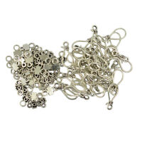 50 Sets Vintage Tibetan Silver Hook and Eye Clasps For Necklace Making Craft