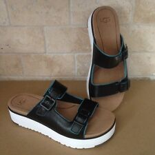 965097794b8 UGG HANNELI BLACK LEATHER SLIDE PLATFORM FLIP FLOPS SANDALS SIZE US 9.5  WOMENS