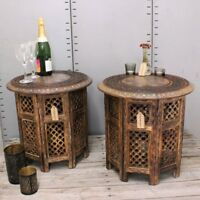"""Bhadra Set of 2 Hand Carved 18"""" Side Tables with Aluminium Inlay Mango Wood End"""