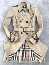 £1395 BURBERRY SANDRINGHAM SLIM FIT HONEY CHECK TRENCH COAT LEATHER STRAPS UK 8