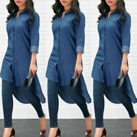 Women's Blue Jeans Denim T-Shirt Long Sleeve Casual Loose Shirt Mini Dress