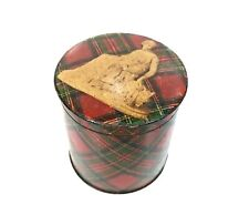 Antique Mauchline Ware Tartan Circular Lidded Tape Box / Container / Casket