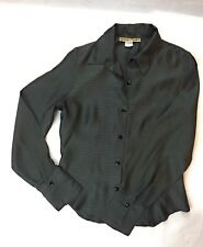 VTG Womens Shirt Medium Tymings Limited Black White Stripe Button Down Blouse