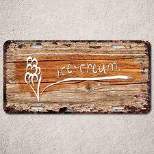 LP0270 Icecream wood Rust Auto License Plate cafe Bar Home Wall Door Decor sign