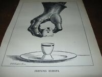 1944 Original POLITICAL CARTOON - WWII HITLER as EGG in EGG CUP w/ KNIGHT ARMOR