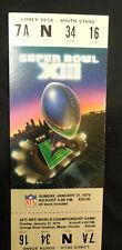 1979 Super Bowl XIII Full Ticket Pittsburgh Steelers Vs Dallas Cowboys NFL